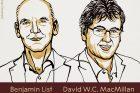 Nobelovu cenu za chemii letos získali společně Němec Benjamin List a Američan David McMillan za vývoj nového způsobu vytváření molekul