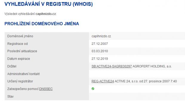 Doména capihnizdo.cz registrovná na holding Agrofert
