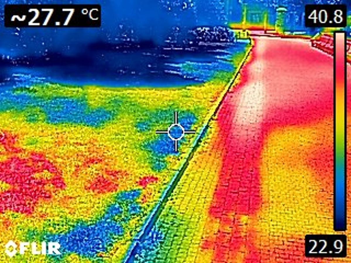 Vpravo nejteplejší povrch z kostek. Vlevo dole vysušený trávník a vlevo nahoře trávník pod keři.
